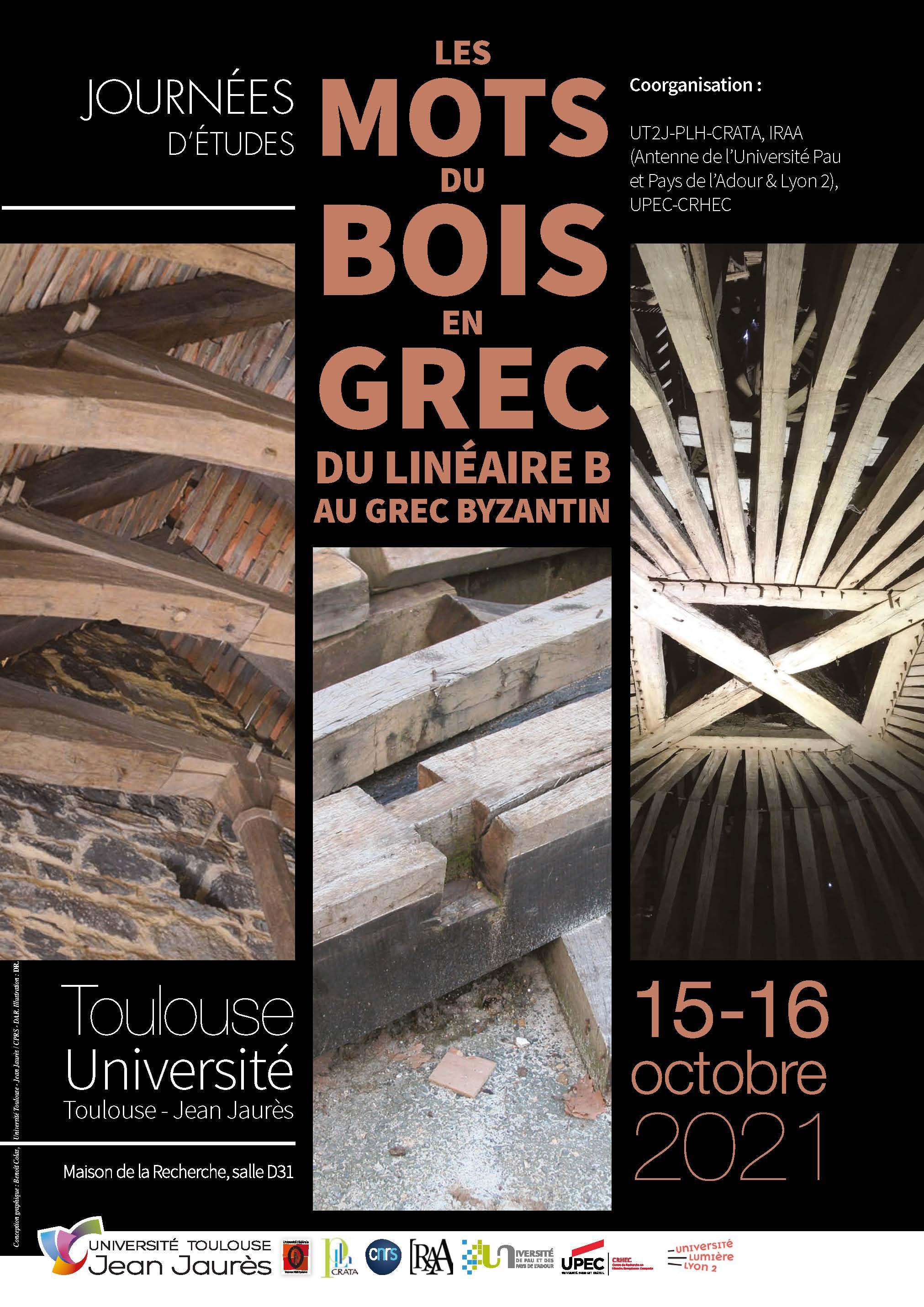 Affiche journée d'études : Les mots du bois en grec du linéaire B au grec byzantin